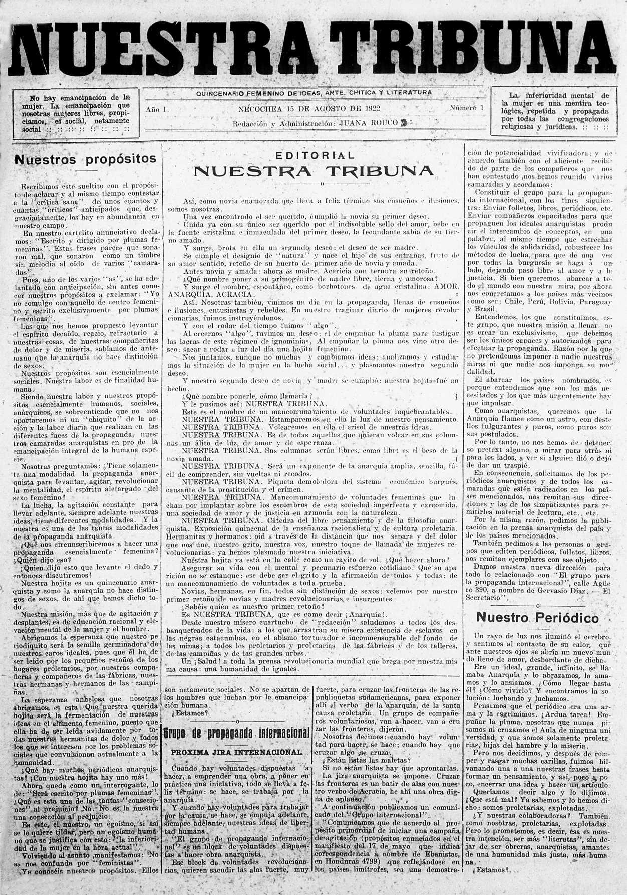 "Portada del primer número de ""Nuestra Tribuna"""