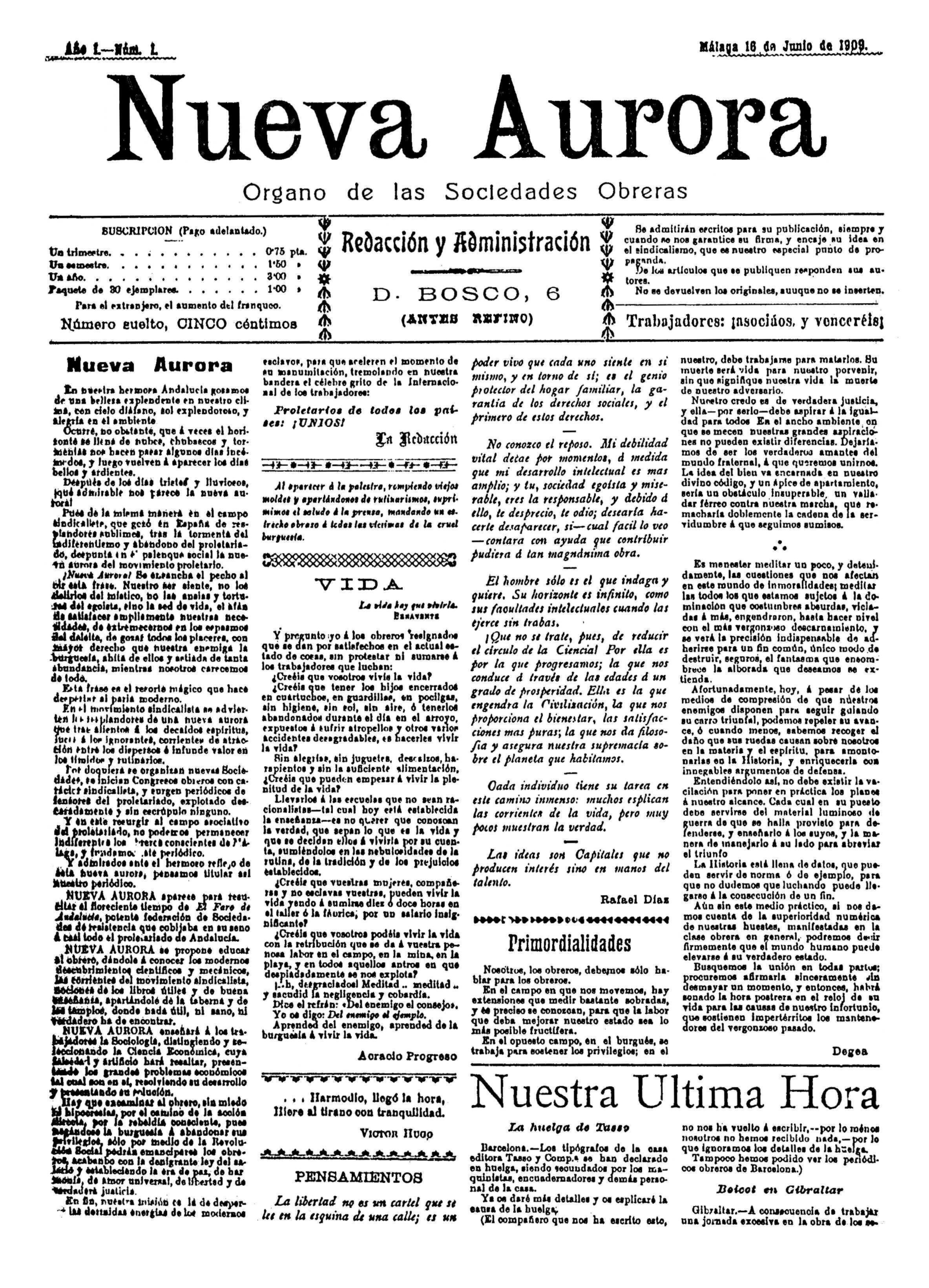 """Primer número de """"Nueva Aurora"""""""