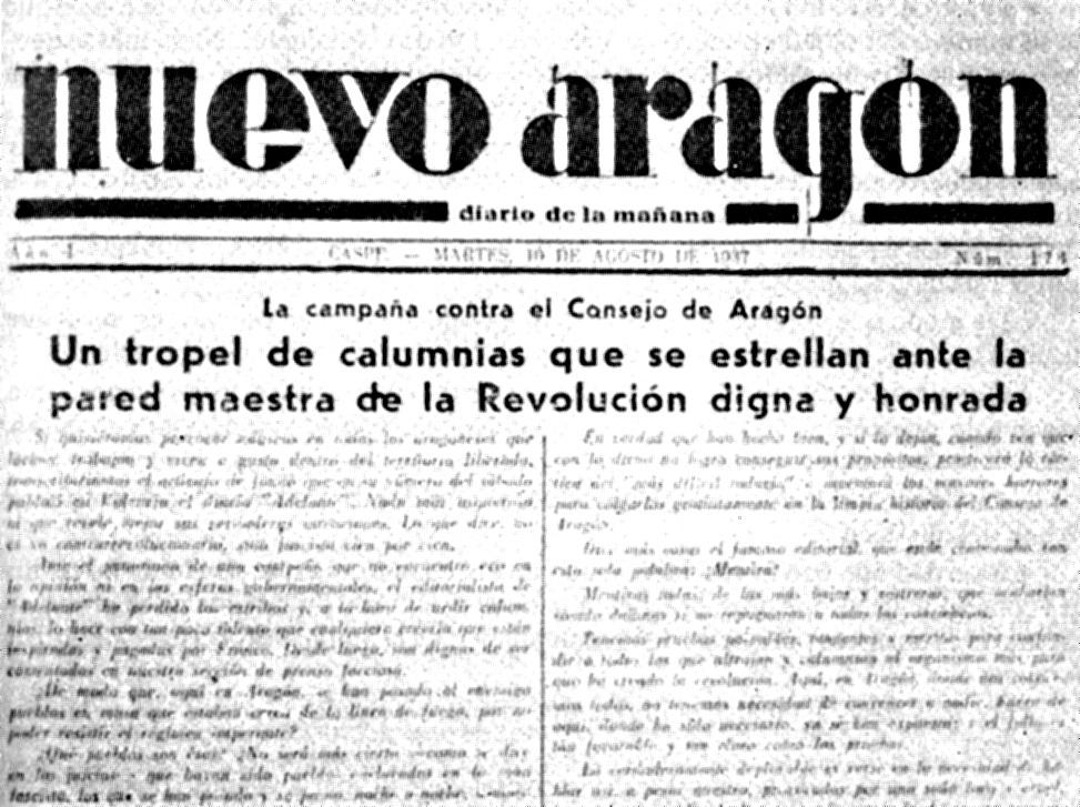 "Capçalera del penúltim número de ""Nuevo Aragón"" del 10 d'agost de 1937"
