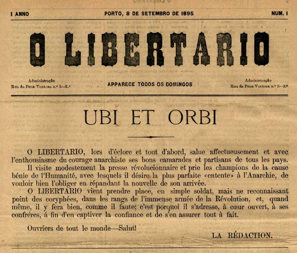 """Capçalera del primer número d'""""O Libertário"""""""