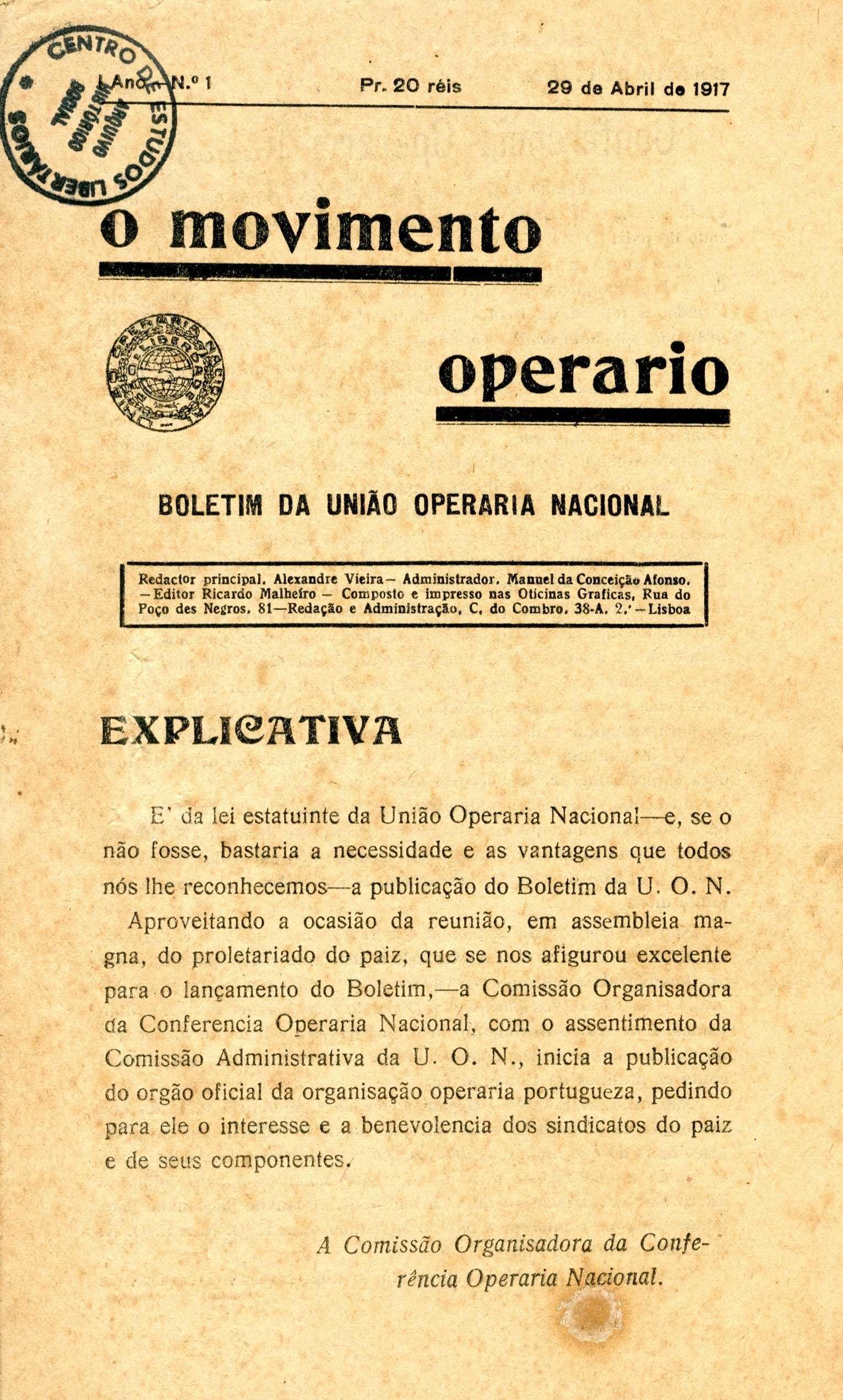 """Portada del primer número d'""""O Movimento Operário"""""""