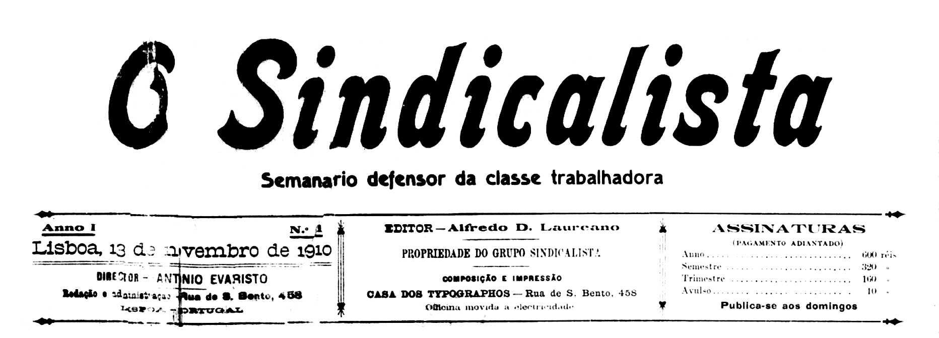 """Capçalera del primer número d'""""O Sindicalista"""""""