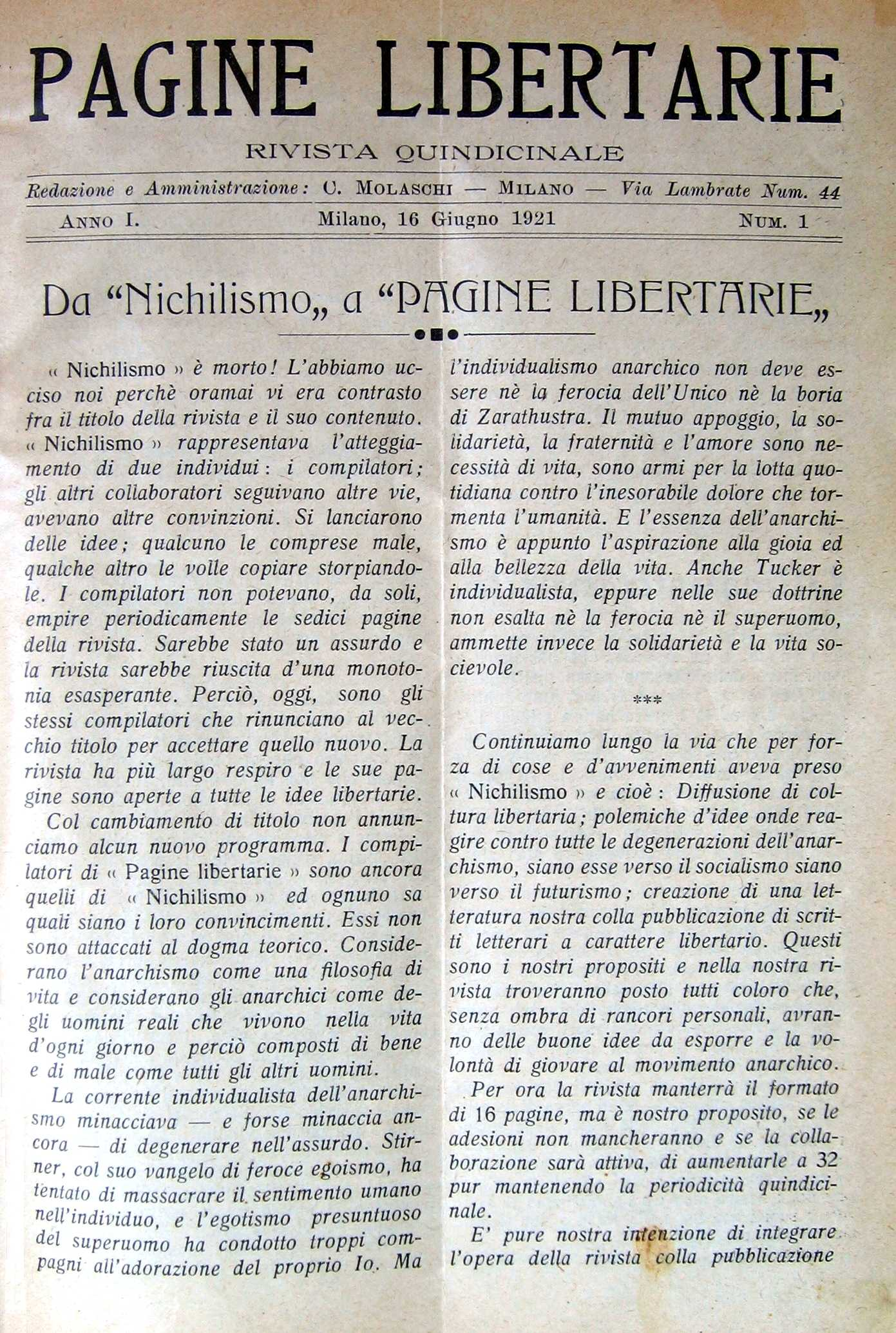 """Portada del primer número de """"Pagine Libertarie"""""""