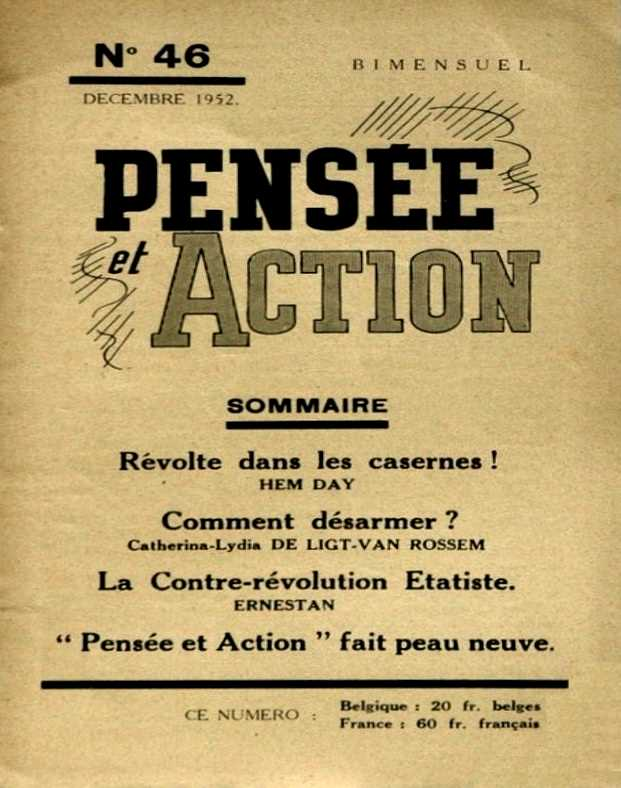 """Portada de l'últim número de """"Pensée et Action"""""""