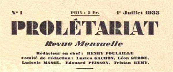 """Capçalera del primer número de """"Prolétariat"""""""