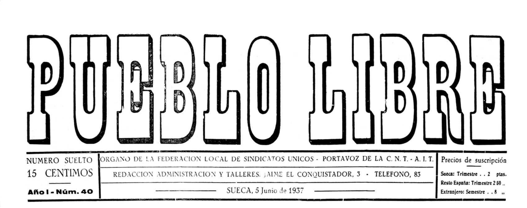 """Capçalera de """"Pueblo Libre"""""""