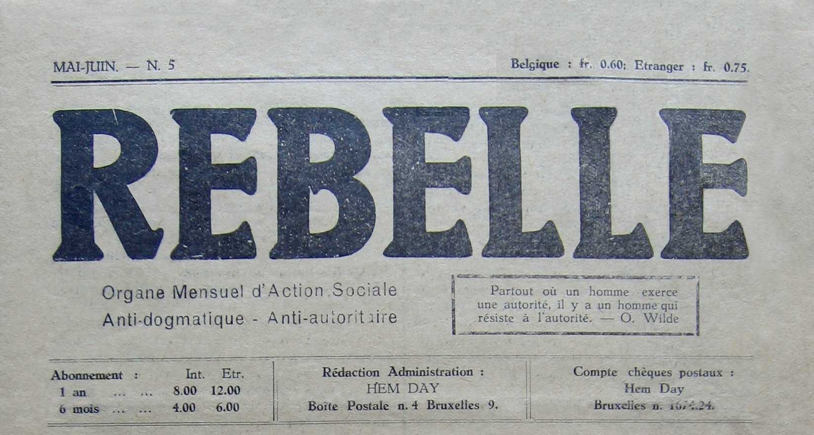 """Capçalera de """"Rebelle"""""""