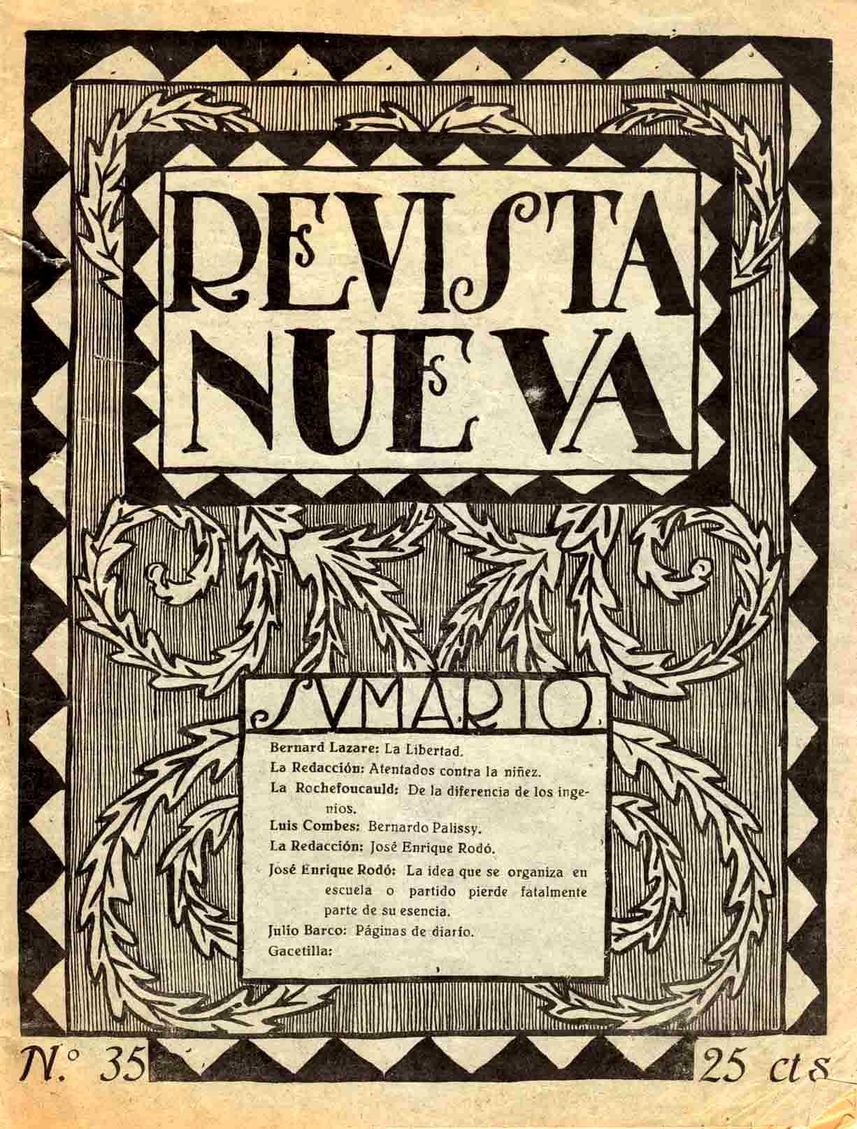 "Portada d'un número de ""Revista Nueva"""