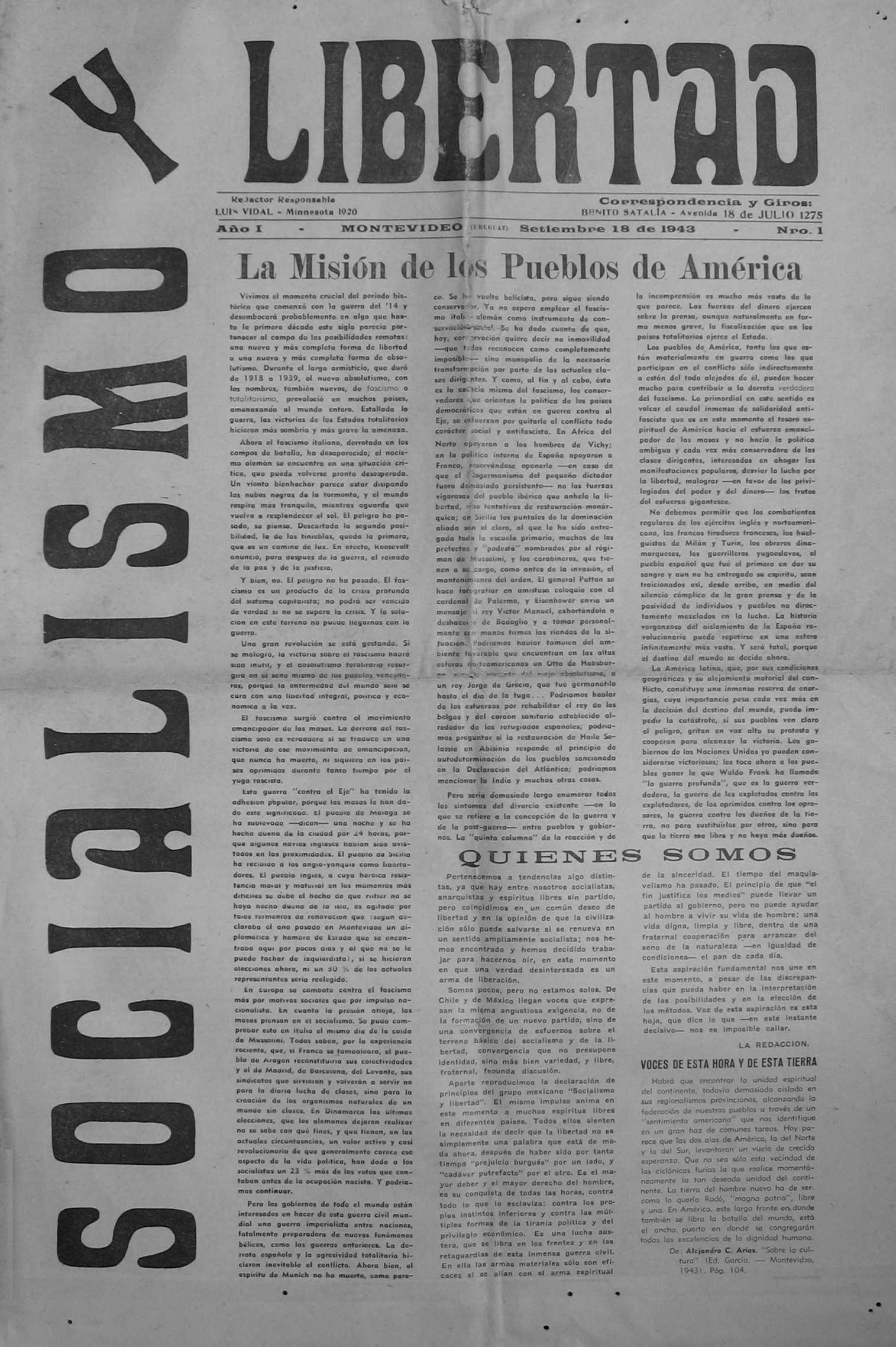 "Portada del primer número de ""Socialismo y Libertad"" [CIRA - Lausana]"