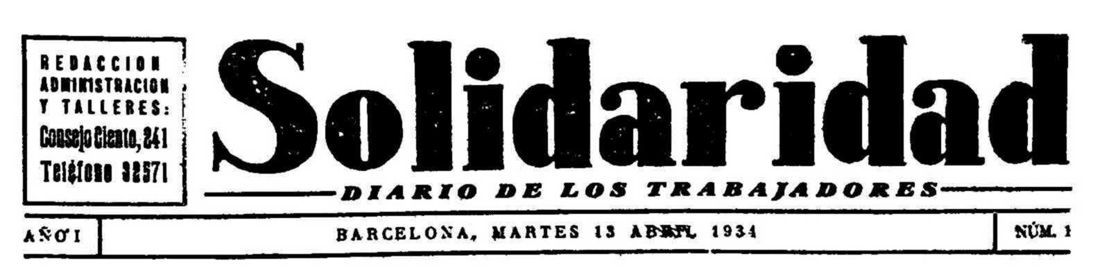 """Capçalera del primer número de """"Solidaridad"""""""