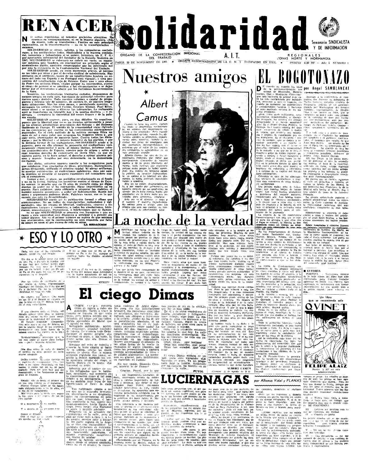 """Portada del primer número de """"Solidaridad"""""""