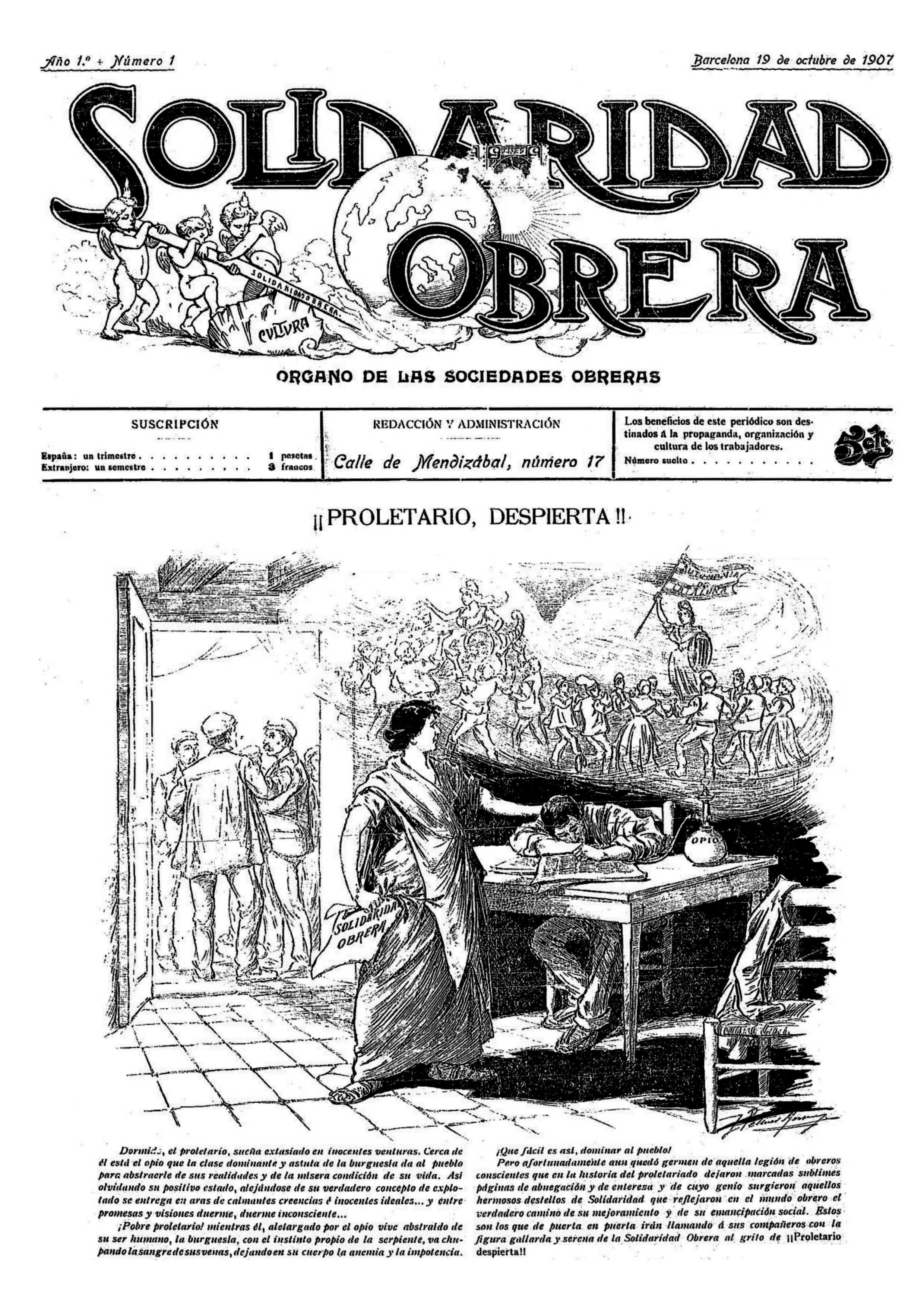 """Portada del primer número de """"Solidaridad Obrera"""""""