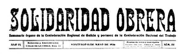 """Capçalera de """"Solidaridad Obrera"""" de Santiago"""