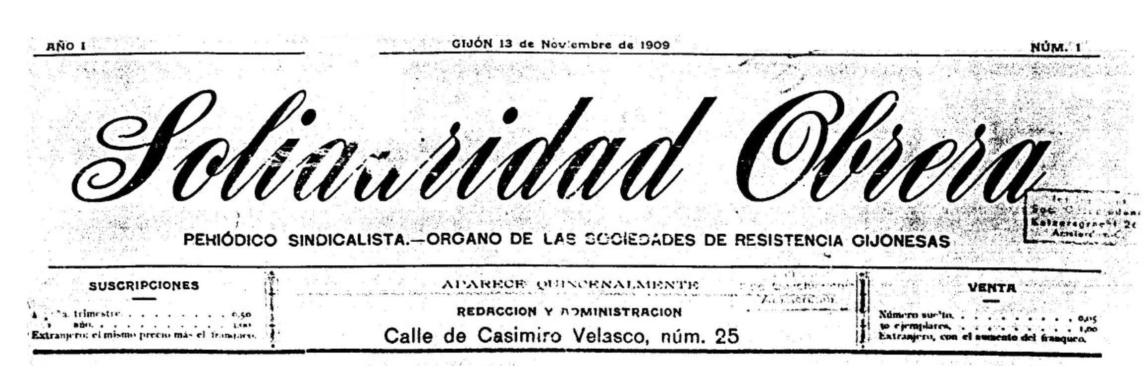 """Capçalera del primer número de """"Solidaridad Obrera"""""""