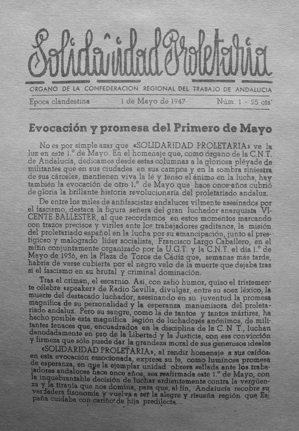 """Portada de """"Solidaridad Proletaria"""""""