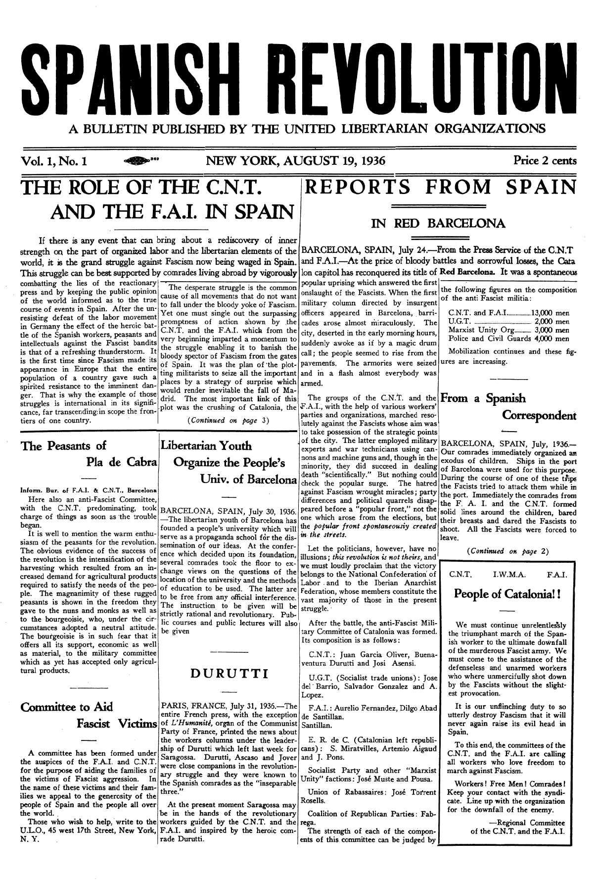 "Portada del primer númer d'""Spanish Revolution"""