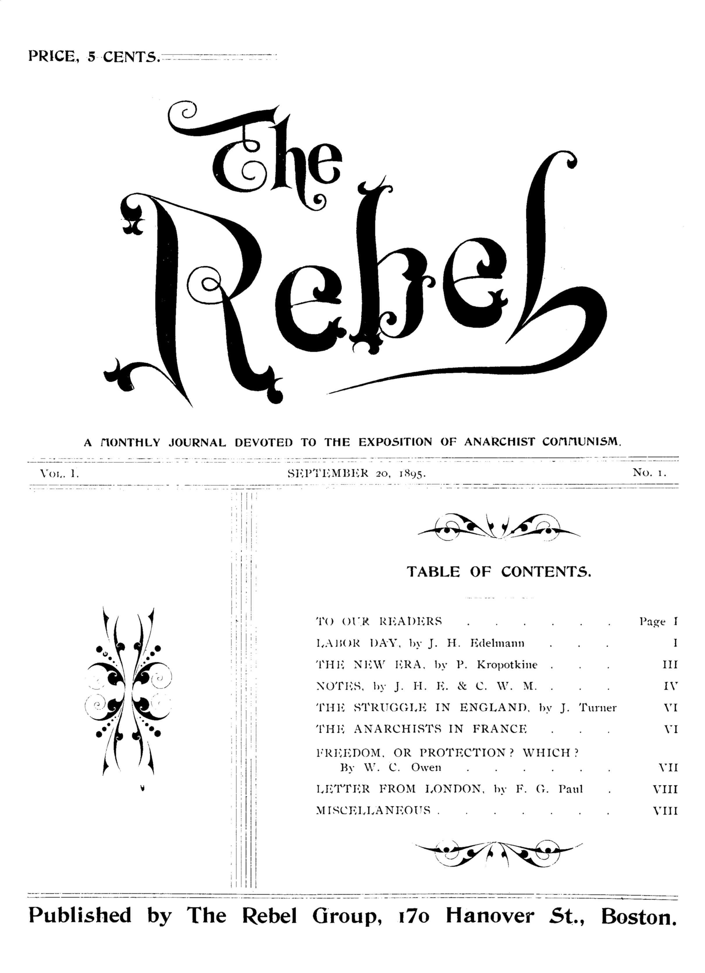 "Portada del primer número de ""The Rebel"""