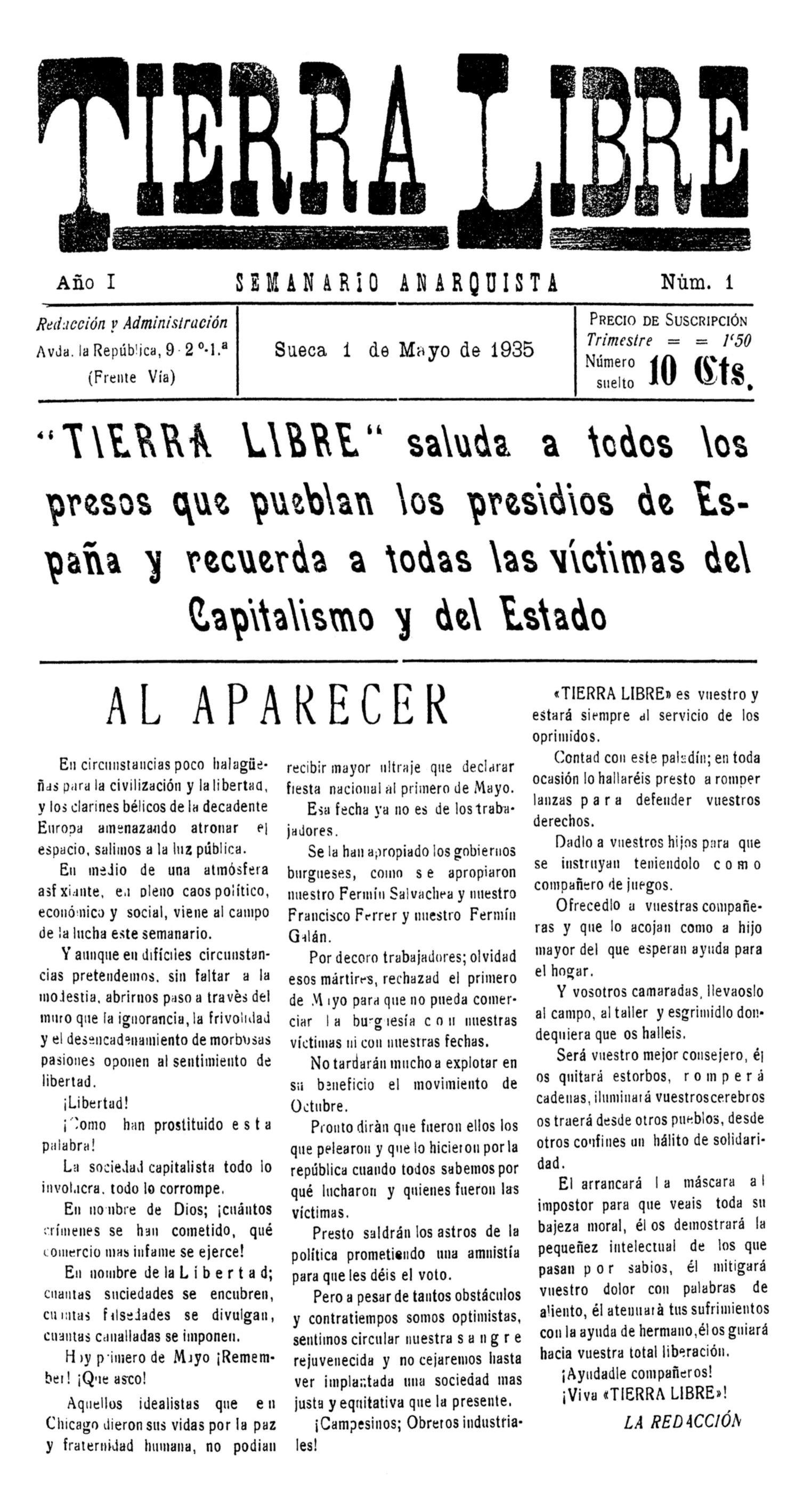 "Portada del primer número de ""Tierra Libre"""