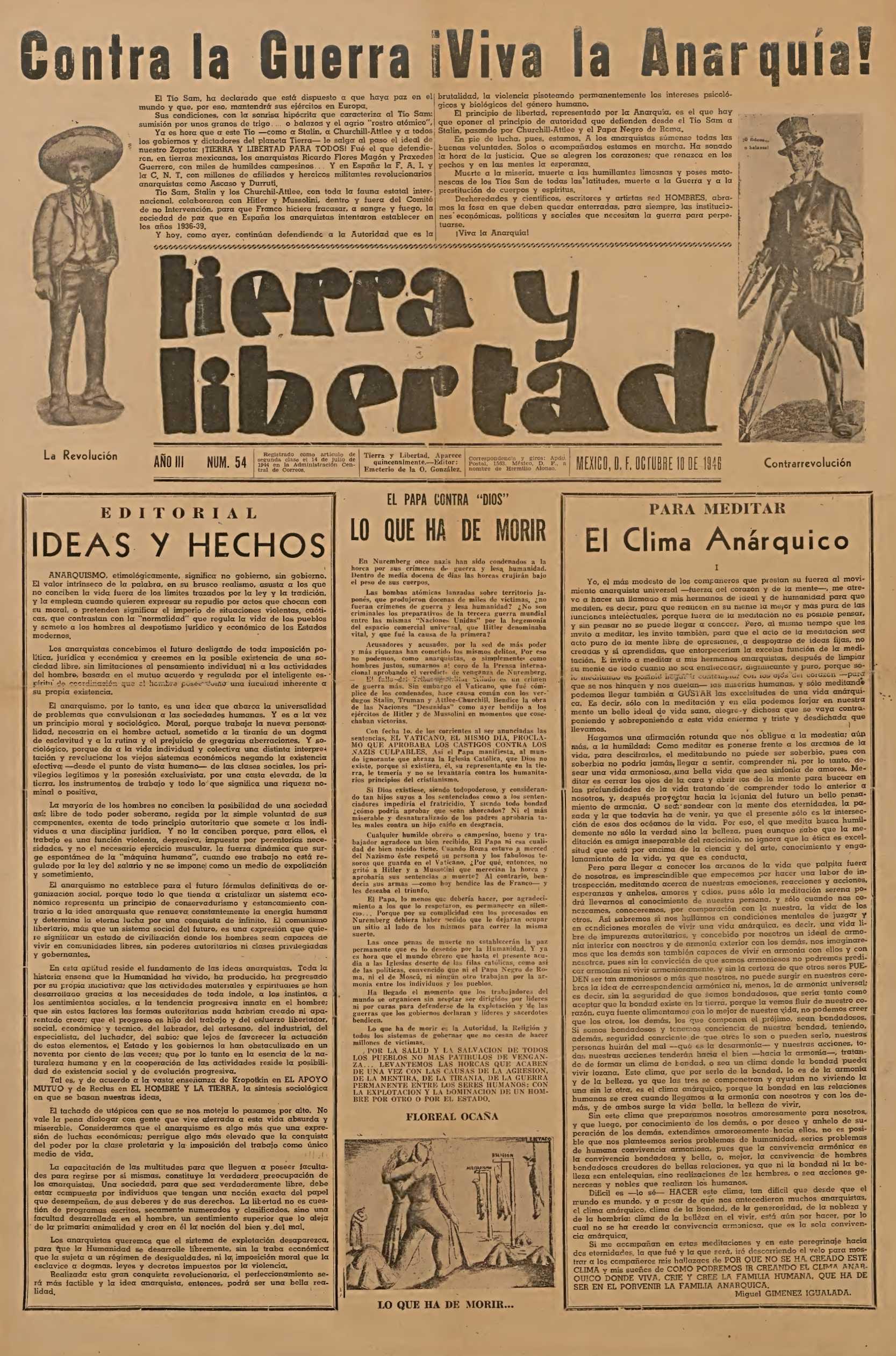 "Portada d'un número de ""Tierra y Libertad"""