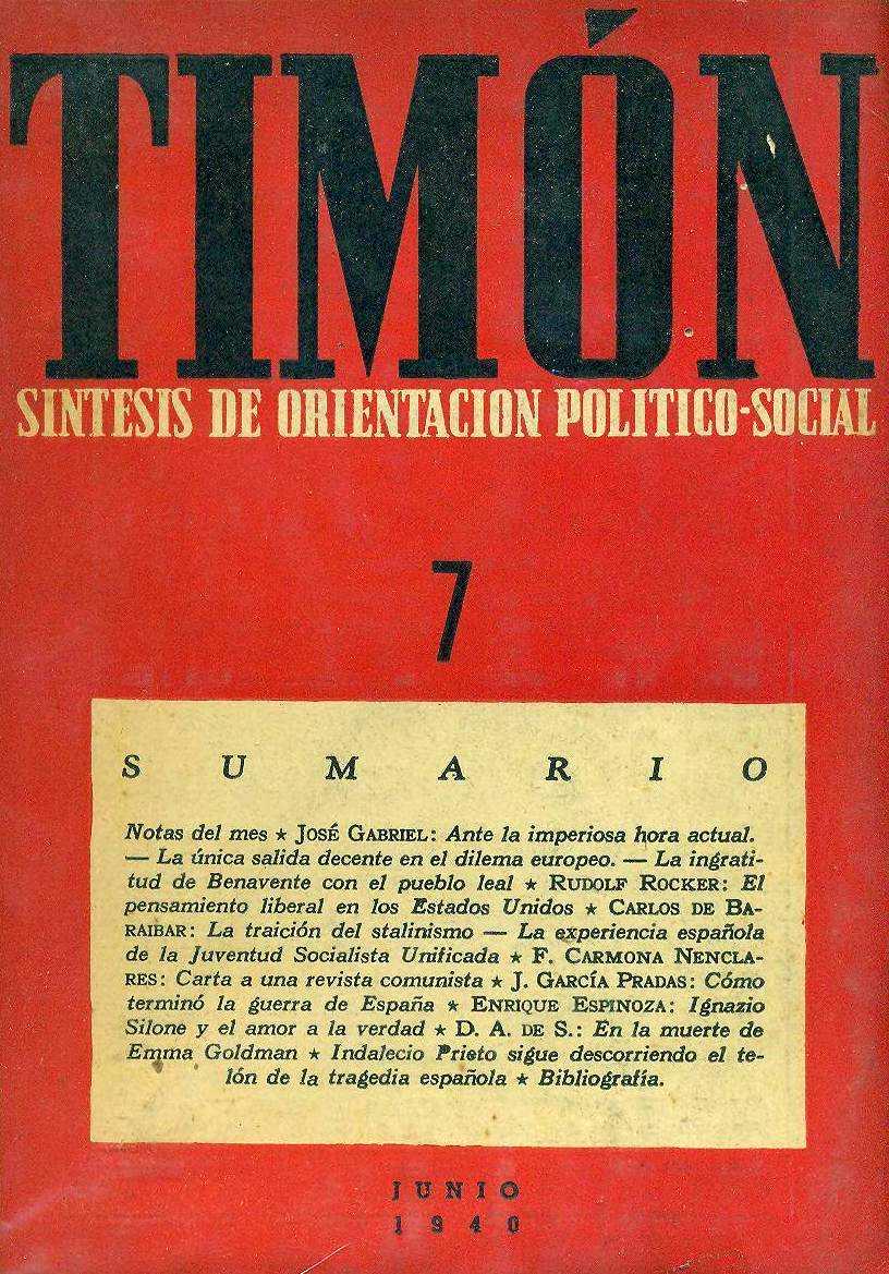 """Portada del número 7 de la segona època de """"Timón"""""""