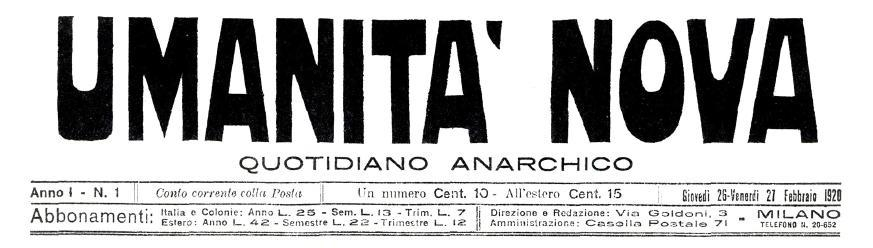 """Anna Pietroni s'encarregà de la publicació d'""""Umanità Nova"""""""