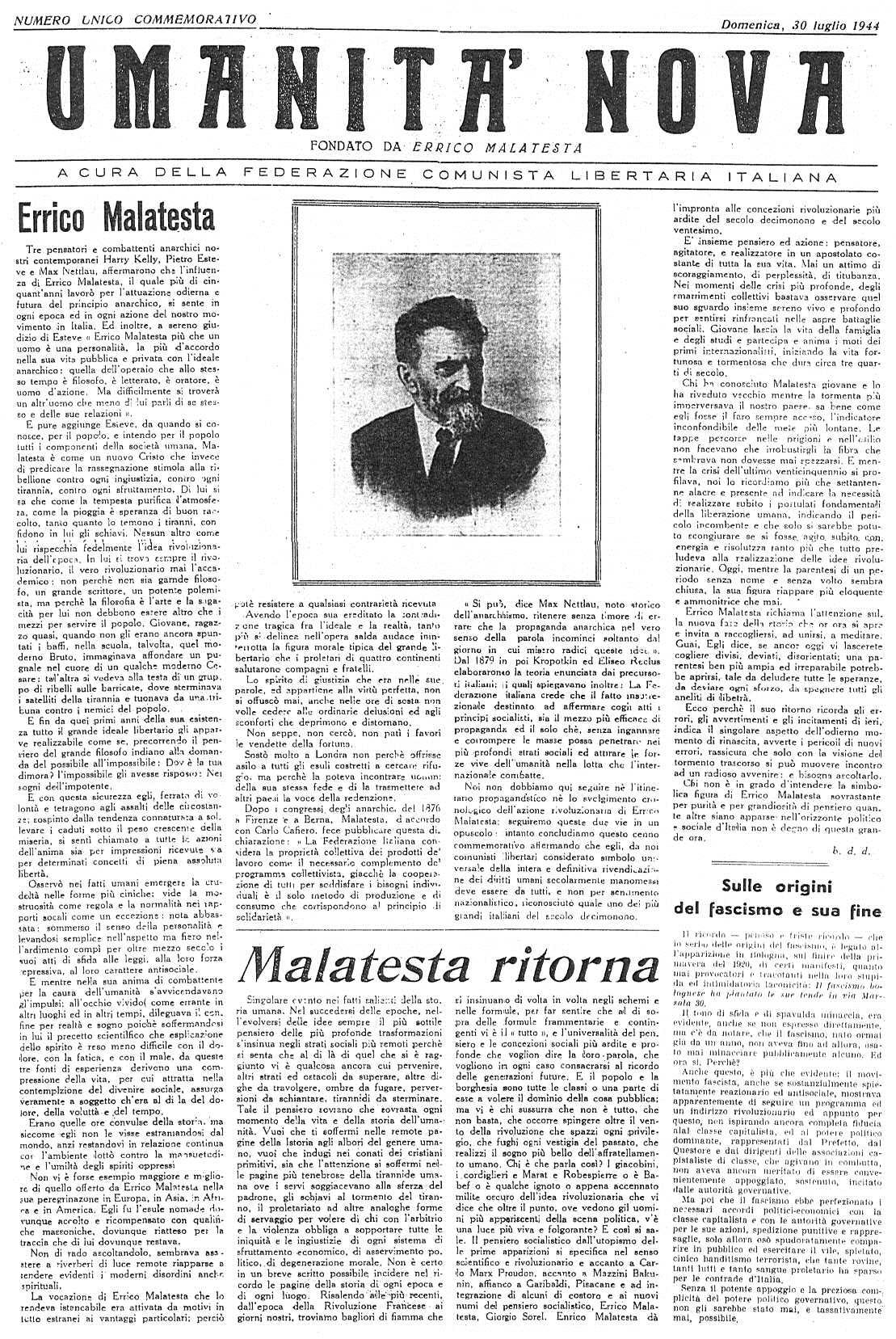 """Portada del número d'""""Umanità Nova"""" dedicat a Errico Malatesta"""