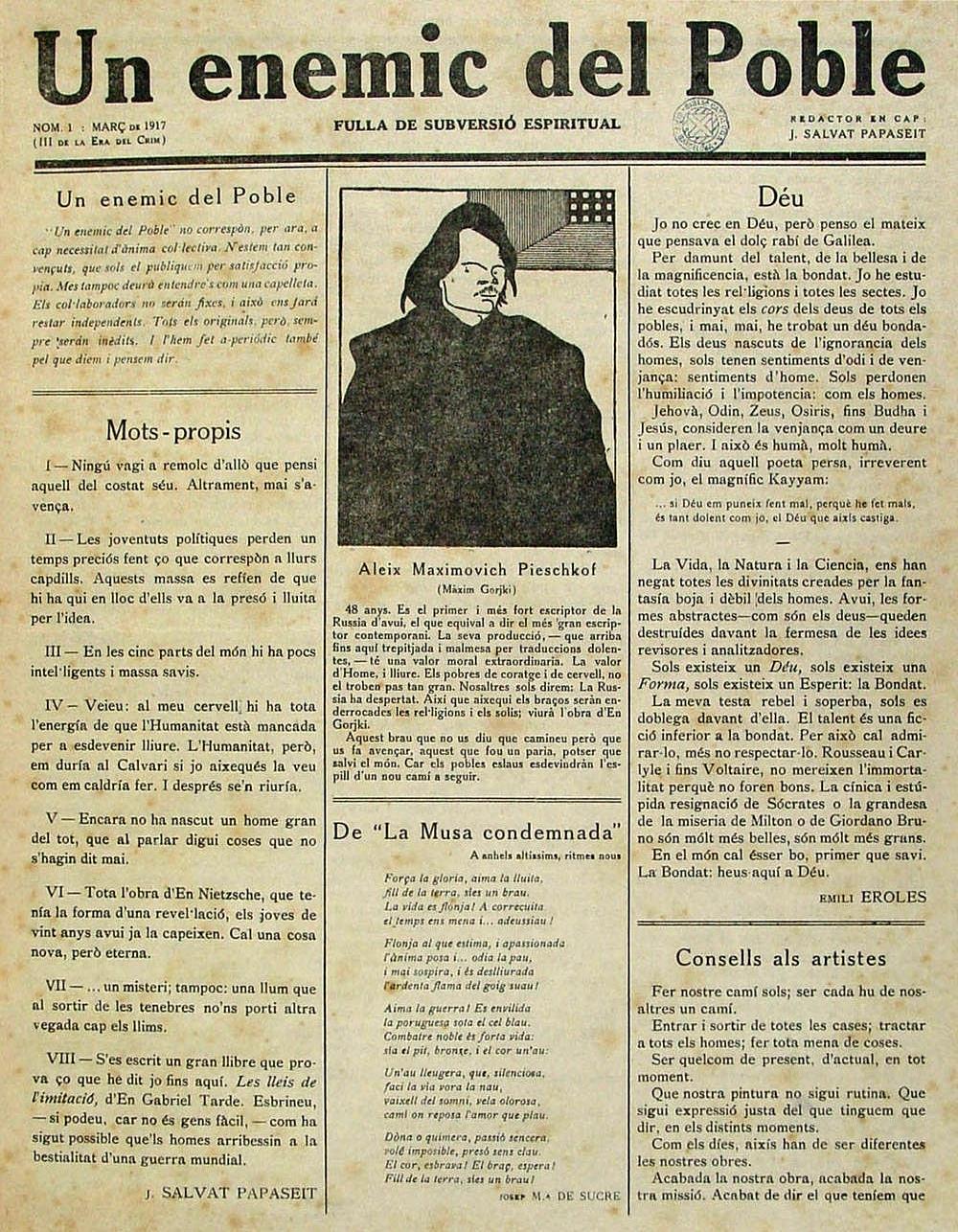 """Portada del primer número d'""""Un Enemic del Poble"""" (Biblioteca de Catalunya)"""