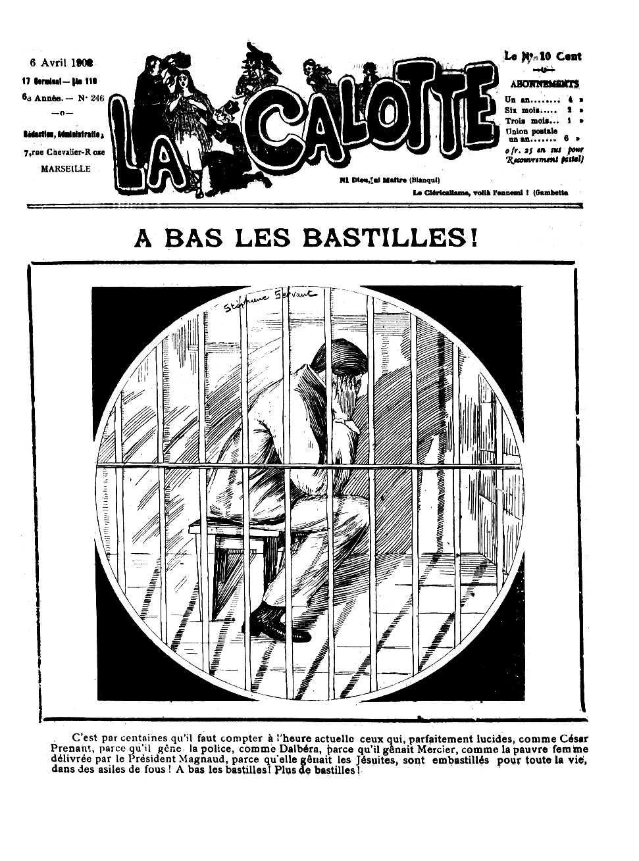 """Portada en solidaritat amb César Prenant del periòdic marsellès """"La Calotte"""" del 6 d'abril de 1902"""