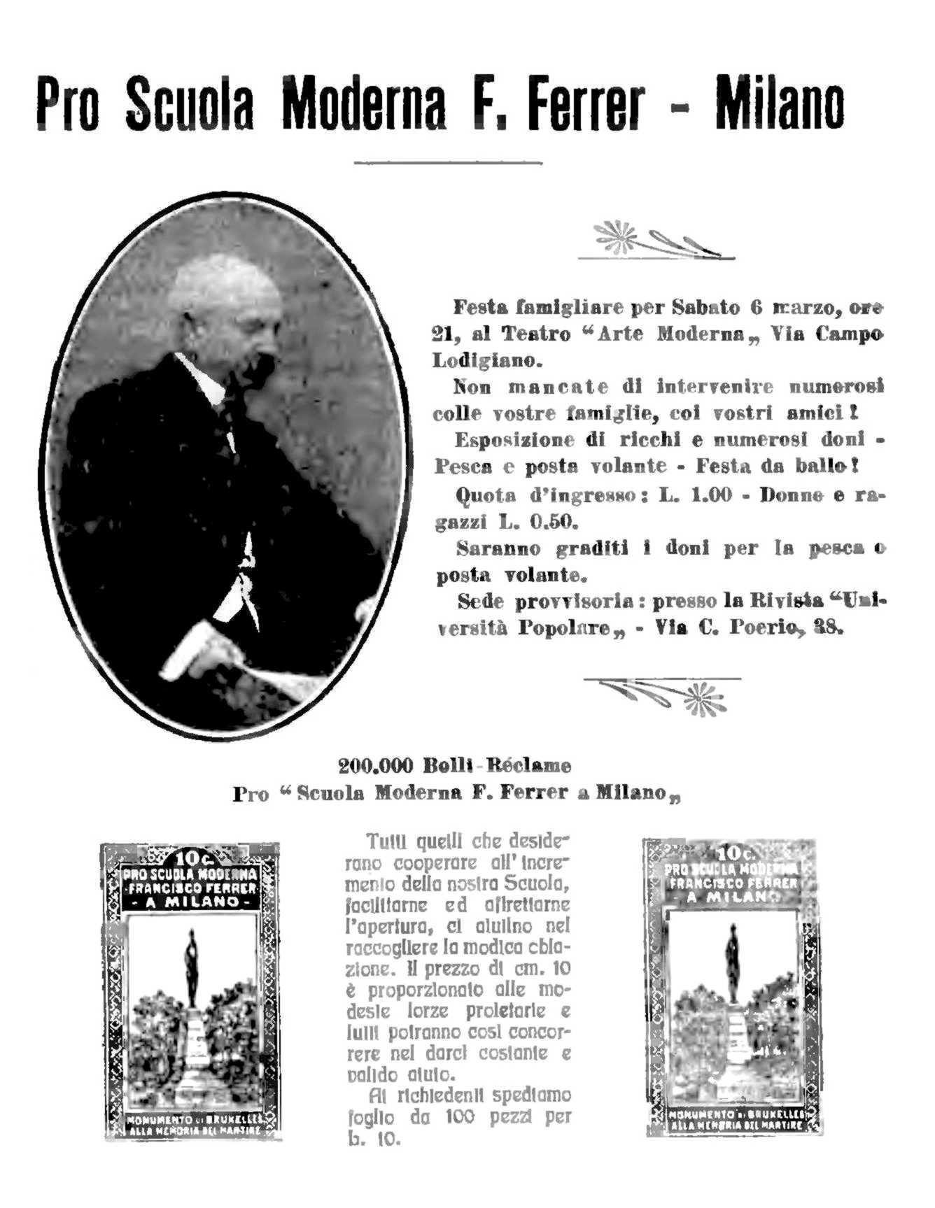 """Publicitat de la festa pro Escola Moderna apareguda en el setmanari anarquista milanès """"Coerenza"""" del 25 de febrer de 1915"""