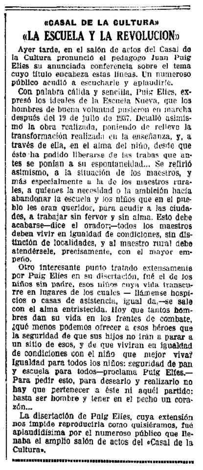 """Ressenya de la conferència publicada en el diari barceloní """"La Vanguardia"""" del 17 de setembre de 1937"""