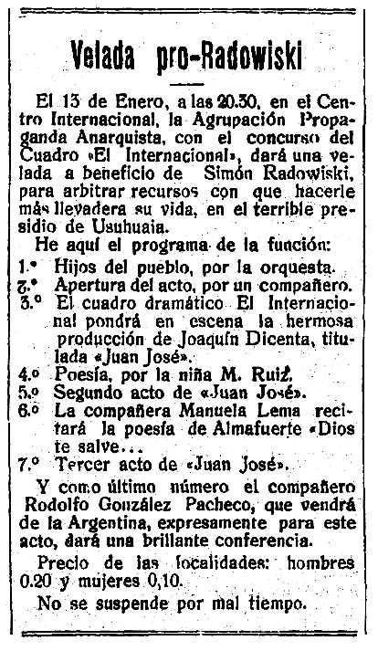 "Propaganda de l'acte publicada en el periòdic de Montevideo ""El Hombre"" del 6 de gener de 1917"