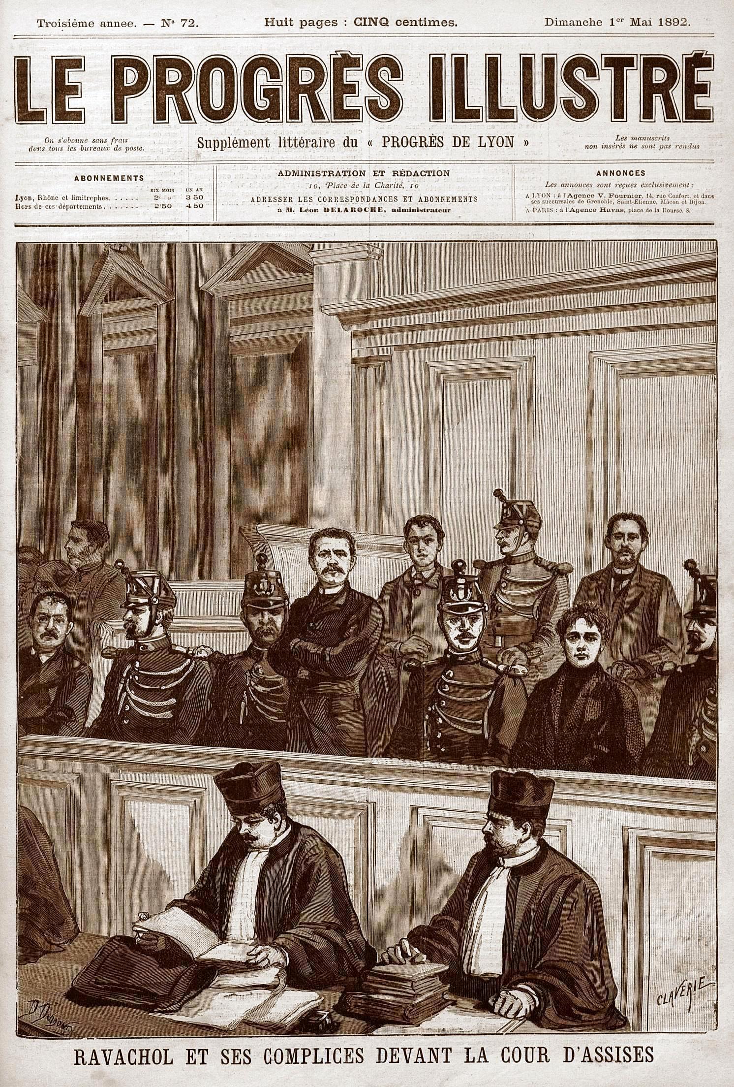 """Ravachol i els seus còmplices davant l'Audiència segons el periòdic parisenc """"Le Progrès Illustré"""" de l'1 de maig de 1892"""