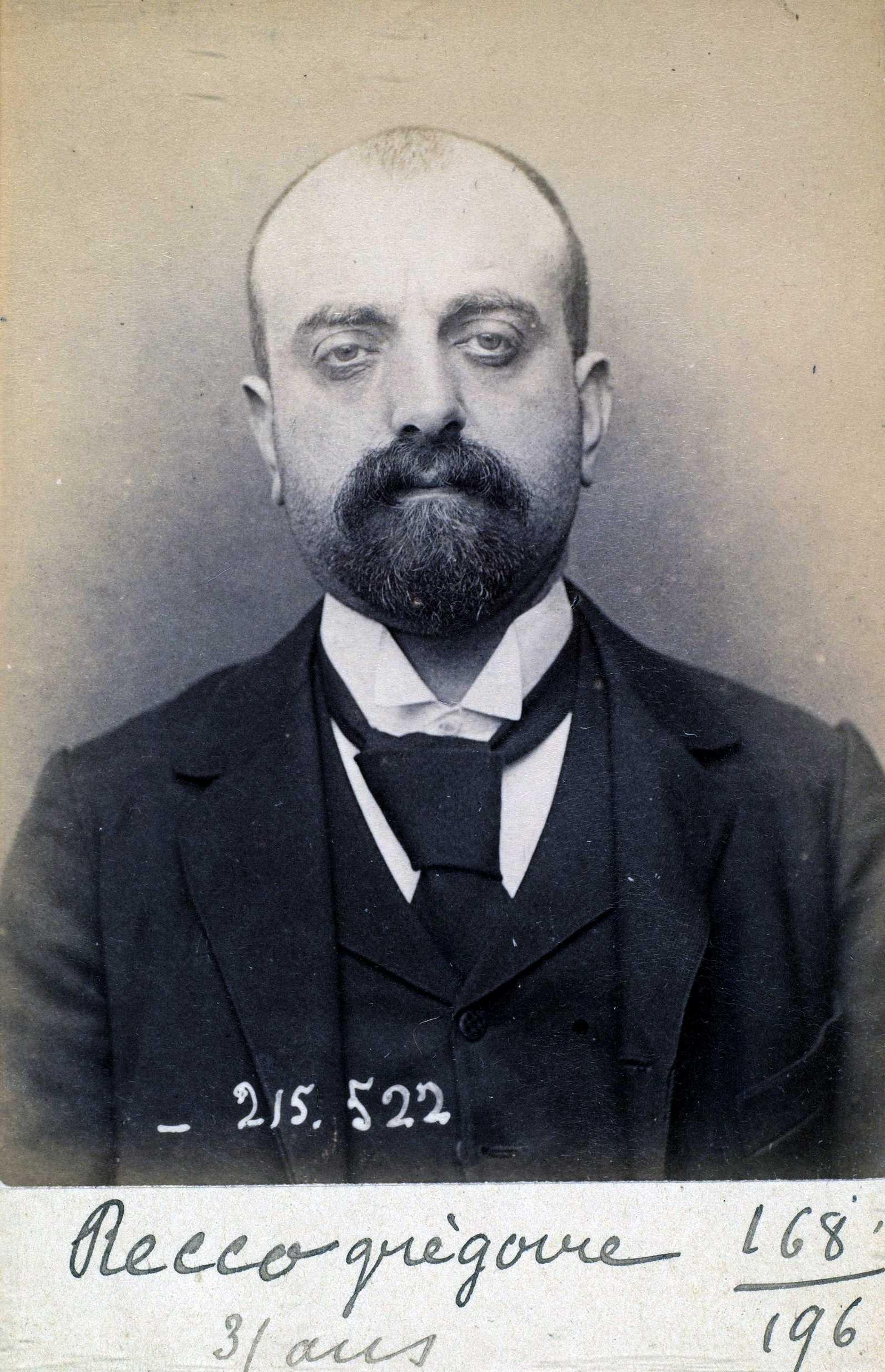 Foto policíaca de Grégoire Recco (11 de març de 1894)