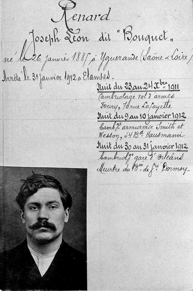 Ficha policial de Joseph Renard (1912)