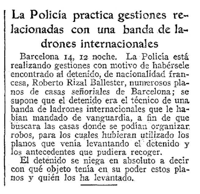 """Notícia de la detenció de Robert Rizal Ballester apareguda en el diari madrileny """"ABC"""" del 15 de febrer de 1935"""