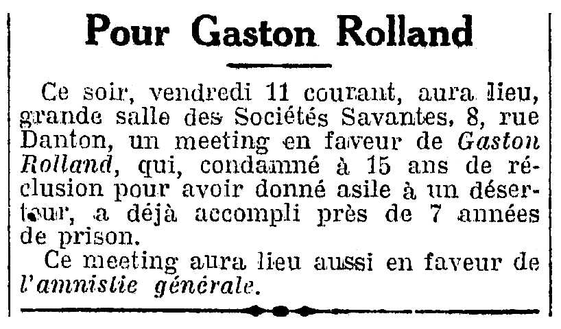 """Convocatòria del míting publicada en el diari parisenc """"L'Humanité"""" de l'11 d'abril de 1924"""