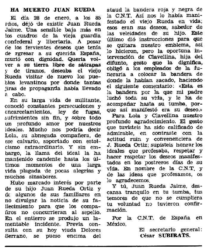 "Necrològica de Juan Rueda Jaime apareguda en el periòdic tolosà ""Espoir"" del 30 de març de 1969"