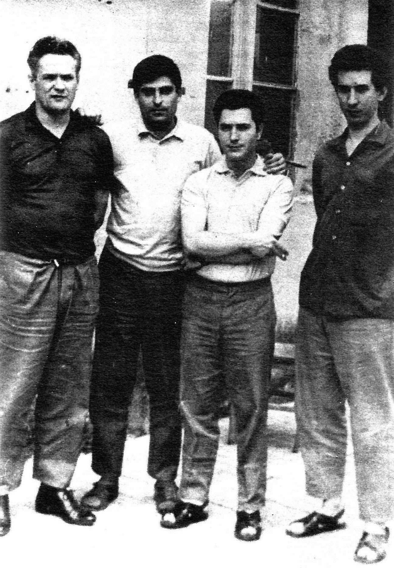 D'esquerra a dreta, els presos: Luis Andrés Edo, Juan Salcedo Martí, David Urbano Bermúdez i Jaime Pozas de Villena (1968)
