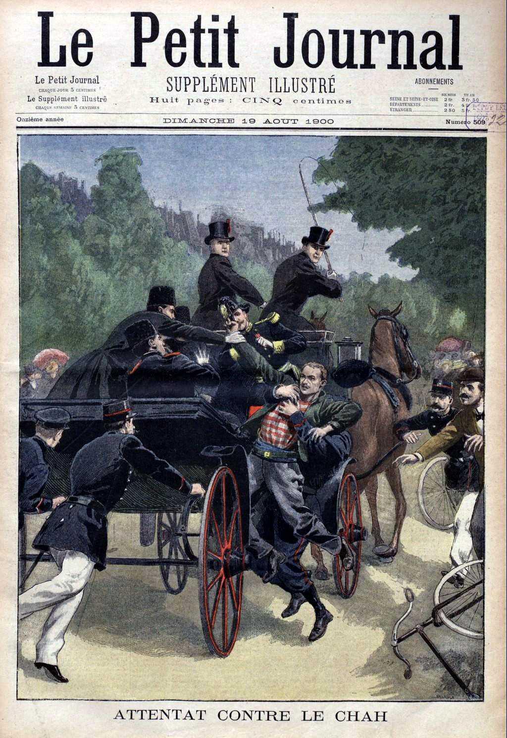 """Portada sobre l'atemptat de François Salsou del periòdic parisenc """"Le Petit Journal"""" del 19 d'agost de 1900"""
