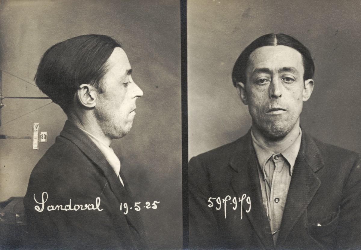 Fitxa policíaca francesa de Felipe Sandoval (1925)