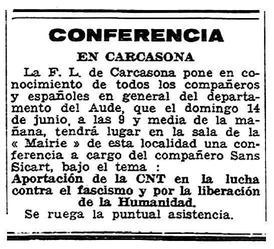 """Propanda de l'acte apareguda en el periòdic parisenc """"Solidaridad Obrera"""" del 14 de juny de 1956"""