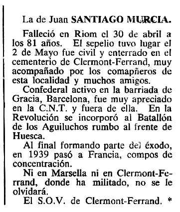 "Necrològica de Juan Santiago Murcia apareguda en el periòdic tolosà ""Cenit"" del 6 de setembre de 1983"