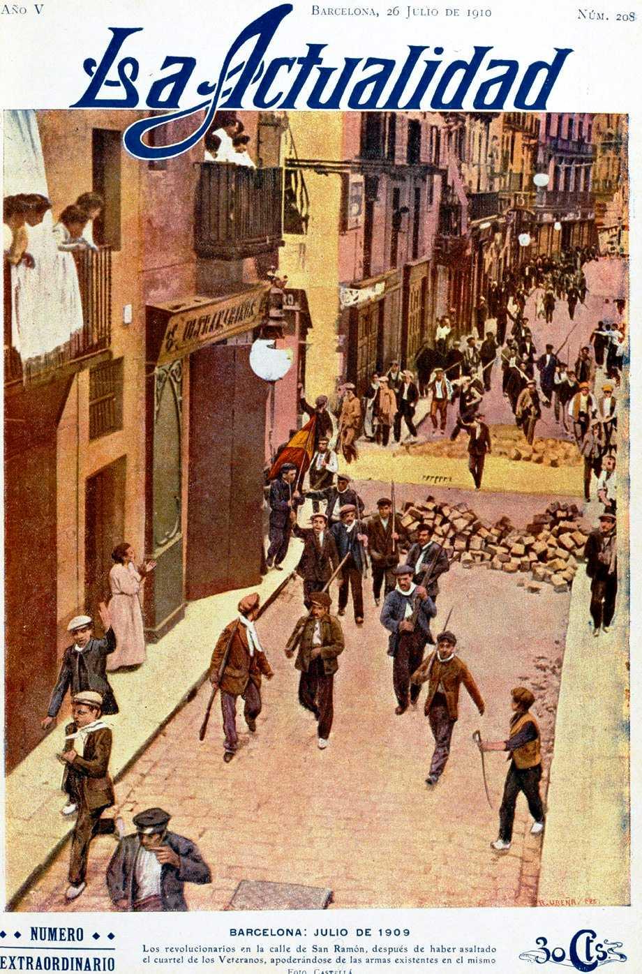 """Assalt a la Caserna dels Veterans. Foto de Català colorejada i retocada per """"La Actualidad"""" del 26 de setembre de 1910"""