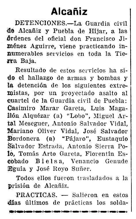 "Notícia de la detenció d'Antonio Sierra Polo apareguda en el diari saragossà ""La Voz de Aragón"" de l'1 de desembre de 1934"
