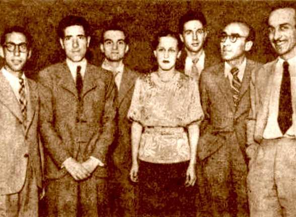 Silvia Mistral con otros miembros de la Sección de Cine del Casal de la Cultura (Barcelona, julio de 1937)