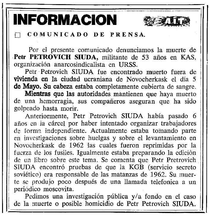 """Nota informativa sobre l'assassinat de Siuda apareguda en el periòdic tolosà """"Cenit"""" del 19 de juny de 1990"""