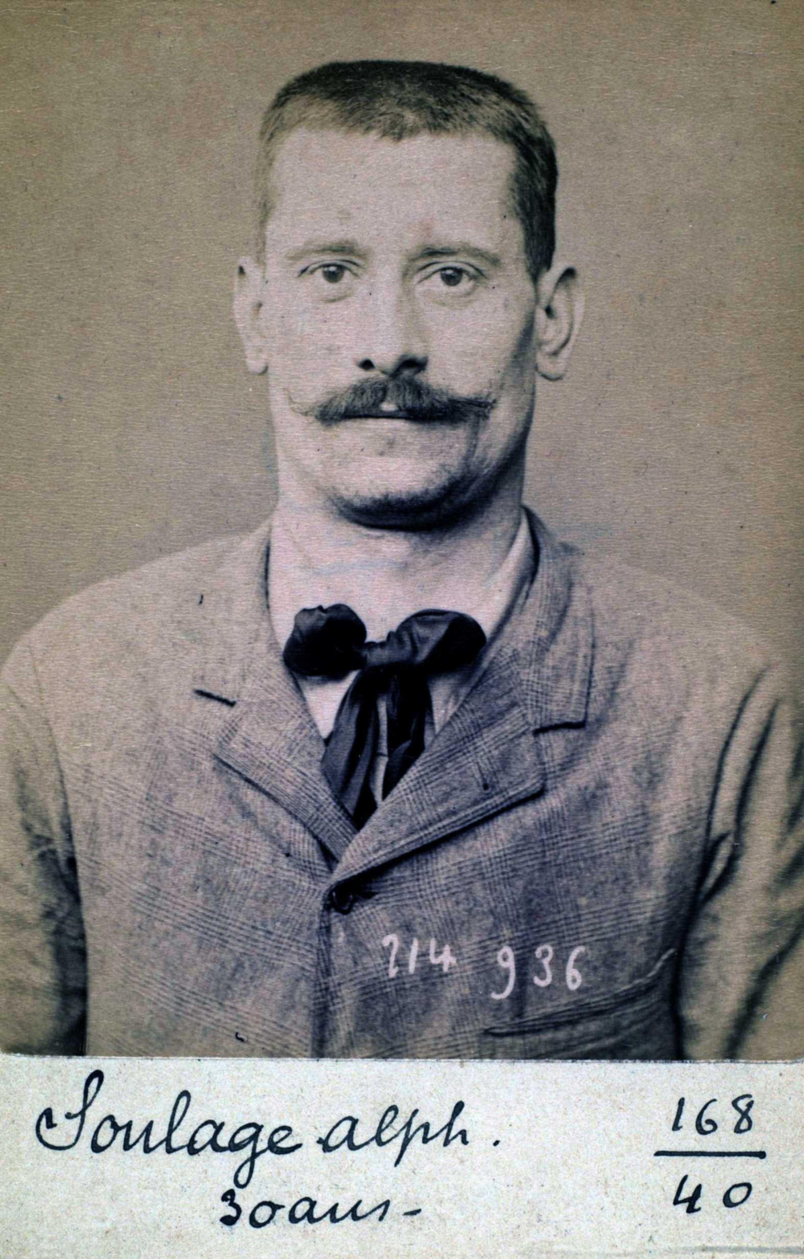 Foto policíaca d'Alphonse-Charles Soulage (1 de març de 1894)