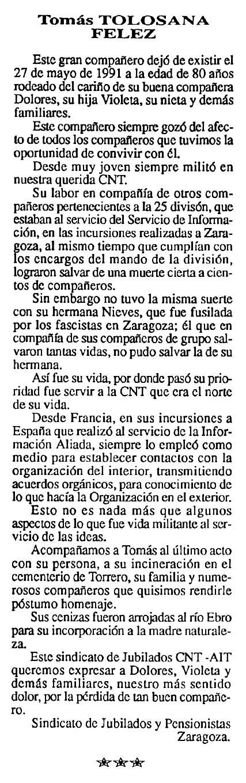"Necrològica de Tomás Tolosana Félez apareguda en el periòdic tolosà ""Cenit"" del 3 de setembre de 1991"