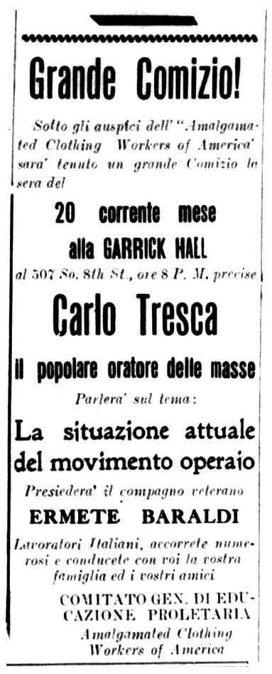 """Convocatòria del míting publicada en el periòdic de Filadèlpia """"La Libera Parola"""" del 17 de desembre de 1921"""