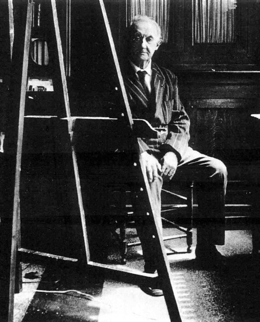 Clovis Trouille en su taller (ca. 1960)